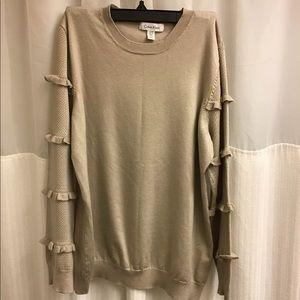 Calvin Klein tan crewneck sweater top shirt L ruff